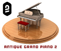 obj antique grand piano 2