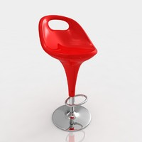 Bar stool 7 red plastic