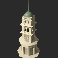 free colonial clock tower 3d model
