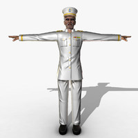 3d model of rigged boat captain