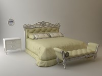 Headboard Bed & bench & nightstand & mirror