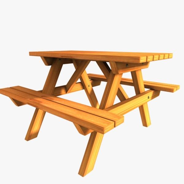 Picnic table 3d model for Table design 3d model