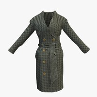 womans checkered winter coat 3d 3ds