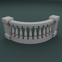 3d 3ds curved balustrade