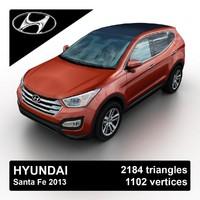 2013 hyundai santa fe 3d model