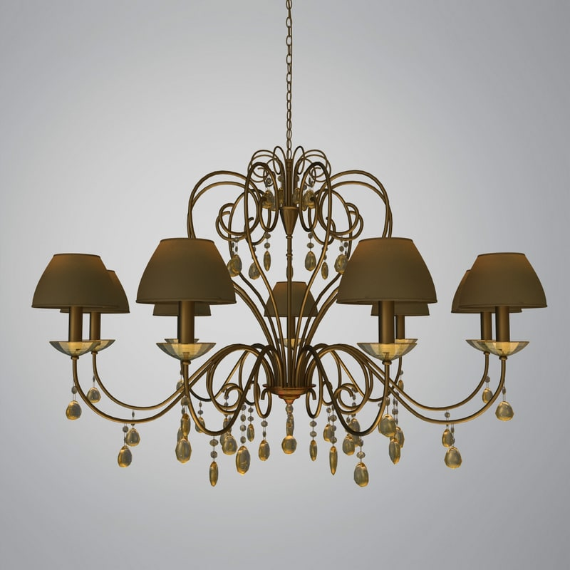 Traditional Chandelier with Shades and Glass Pendants .jpg