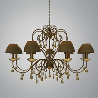 Traditional Chandelier with Shades and Glass Pendants
