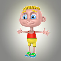 3d cartoon boy summer