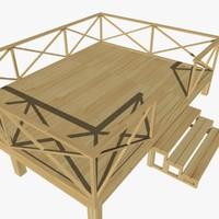 terrace wood 01 3d model