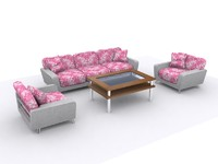 sofa couch armchair furniture 3d model