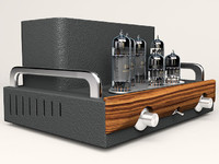 3d model hi-fi tube amplifier 2