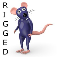 rigged cartoon rat x