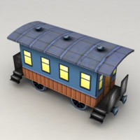 Lowpoly Old Railway Coach
