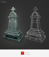 grave stone 3d obj