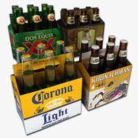 3d model of set packs beer