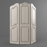 wooden folding screen 3d model