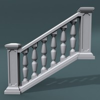 3d staircase balustrade model