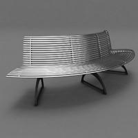 park bench metal 3d model