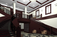 city hall lobby 3d obj