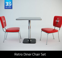 3d model retro diner chair set