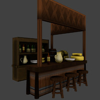 medieval tavern balcony 3d model