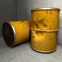 3d metal waste barrel model