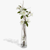 3d bouquet magnolia model