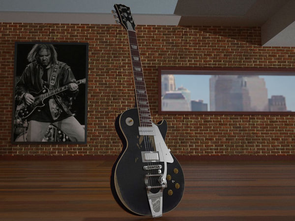 3d model neil old black gibson les - Gibson Les Paul