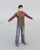 cowboy man human 3d model