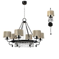 Baga progress 3324 & 3250 traditional fringe shade chandelier and  wall lamp