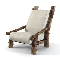 Country  Rustic rough Armchair