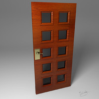 windowed door wood 3d x