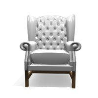 3d georgian 1 seater leather chair