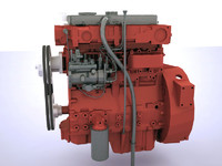 3d model of 8 cylinder engine truck