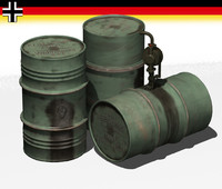 3d model german fuel drums