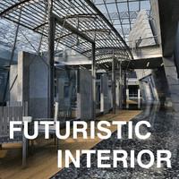 futuristic interior hall lobby 3d max