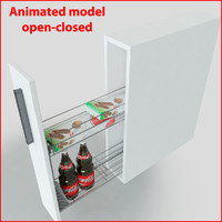 3d kitchen slider cabinet storages