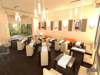 3d restaurant interior scene