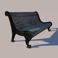 3d old garden bench