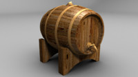 free fbx mode wooden wine barrel