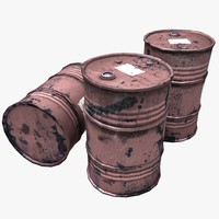 3d model of oil gasoline barrels
