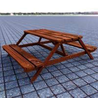 picnic bench 3d obj