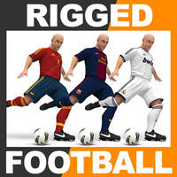 Rigged Football Player and Goalkeeper - Real Madrid Barcelona Spain