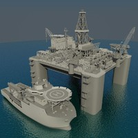 Oil platform with multipurpose support vessel