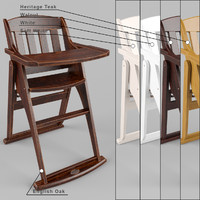 boori country highchair 3d model