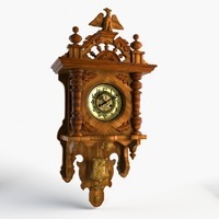 old wood clocks 3d max