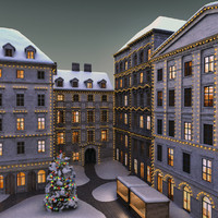 3d christmas street scene model