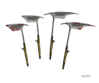 3d model philippine headhunter axes set