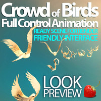 3d model crowd birds