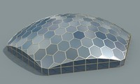 hexagon glass dome obj